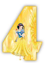 Alfabeto Princesa Branca De Neve Amarelo Com Numerais Branca De
