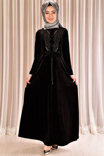 Modamerve On Dugmeli Kadife Elbise Siyah Mrg 21050 Moda Stilleri Kusakli Elbise Cicekli Elbise