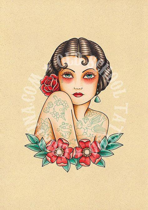 T04 The Tattooed Woman Flash Tattoo Old School Tattoo Art Tattoo Digital Print Instant Download Pr Traditional Tattoo Art Old School Tattoo Girl Tattoos