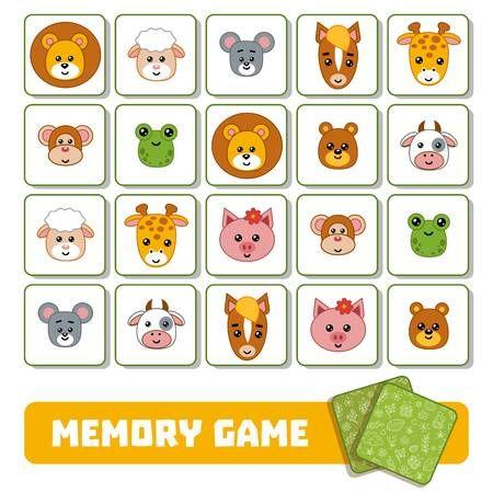 Juego De Memoria Para Niños Tarjetas Con Lindos Animales Juegos De Memoria Juegos De Tarjetas Tarjetas De Animales