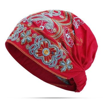 Women Summer Vintage Embroidery Ethnic Beanie Hat Cotton Elastic Turban Caps