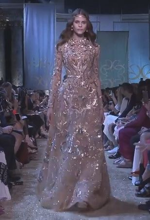Stunning Golden Embroidered Beige A-Lane Evening Maxi Dress / Evening Gown with Long Sleeves and small Train. Runway Show by Elie Saab