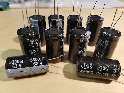 3300 uF  63 volt electrolytic capacitors New stock Qty 10