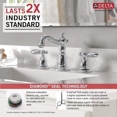 Delta Faucet 3555 Mpu Dst Victorian Widespread Bathroom Faucet With Pop Up Drain Assembly Chrome Delta Faucets Widespread Bathroom Faucet Faucet