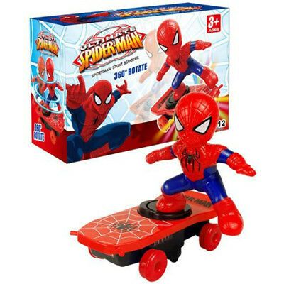 Spiderman Electronic Stunt Scooter Skateboard 360 Rotation Anime Sound Kids Toy Marvel Movies Avengers Stunt Scooter Kids Toys Toy Store