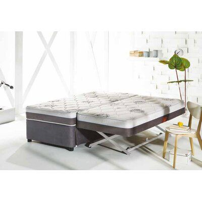 White Noise Full Upholstered Low Profile Platform Bed With Mattress Daybed With Trundle Trundle Bed Pop Up Trundle Bed