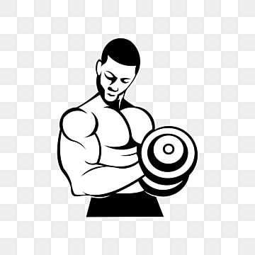 Physical Fitness Sport Gym Logo Bodybuilder With Big Muscles Posing Isolated Vector Silhouette Front View Power Clipart Logo Icons Sport Icons Png And Vector Gym Logo Big Muscles Gym Icon