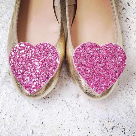 Light Pink Shoeclips Glitter Hearts Big Wedding by PollyMcGeary