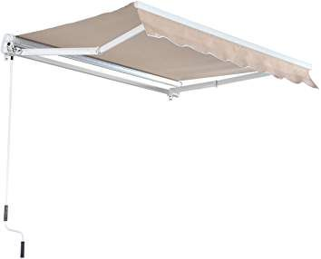 Outsunny 8 X 7 Manual Retractable Uv Protentant Sun Shade Patio Awning Cream Beige With Images Patio Awning Awning Shade Decorative Tray