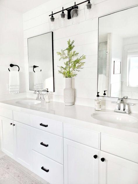 Master Bathroom Update with Pfister - White Lane Decor White Bathroom Decor, Bathroom Renos, Bathroom Layout, Bathroom Renovations, Bathroom Fixtures, Modern Bathroom, White Bathroom Furniture, Bathroom Images, Black Bathroom Light Fixtures