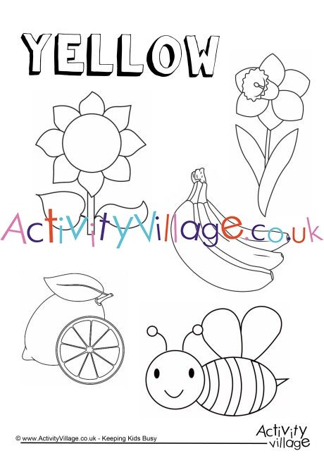 Yellow Things Colouring Page Color Worksheets Preschool