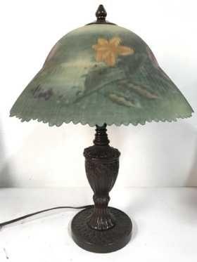 Glynda Turley Hand Painted Glass Shade Lamp Rospis Abazhurov