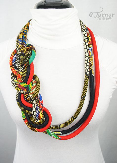 Long Tribal African Necklace - Ethnic Braided Necklace - African Colors Necklace - African Flag Necklace - red, green, blue, yellow & black