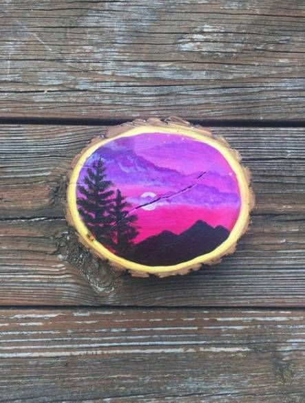 27 Ideas For Painting Wood Slices Acrylics Circle Painting Painting On Wood Wood Art