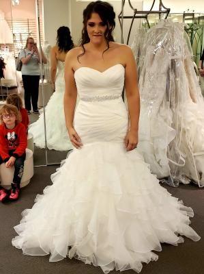 Organza Mermaid Wedding Dress With Ruffled Skirt David S Bridal Mermaid Wedding Dress Wedding Dresses Dresses