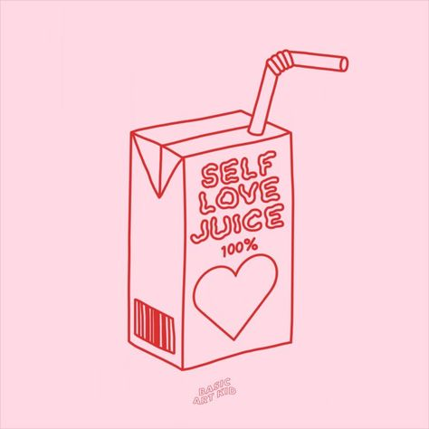 Cute juice box line drawing. Self love juice! Self love affirmations aesthetic art print. Add some good vibes and positivity to your room with this self love affirmations art print! Self love, motivational quote room decor. #selflove #graphic