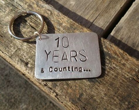 083e80f3f6b5 10 Year Anniversary Keyring Gifts Aluminium Tin Ten Years Wedding Keychains  10th
