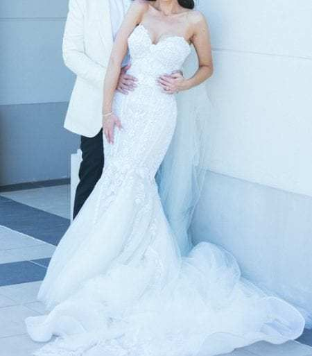 This Strapless #white #lace #wedding gown from The Darius Collection can be made with modifications or any change you need. For more info on #custom #weddingdresses or #replicas of haute #couture #designs for less please email us from our profile page.