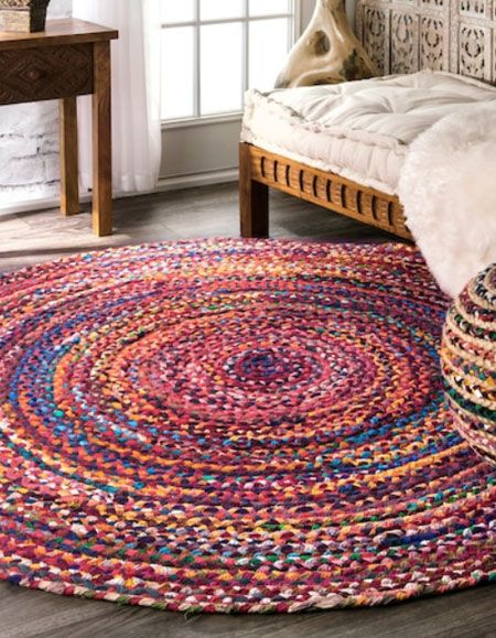 Rag Rugs Are Made From Scraps Of Fabric And You Can Make Them Small Or Large In Almost Any Shape Braided Rag Rugs Colorful Area Rug Rag Rug