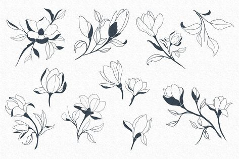 Hand Sketched Magnolia #Usable#including#pattern#painted