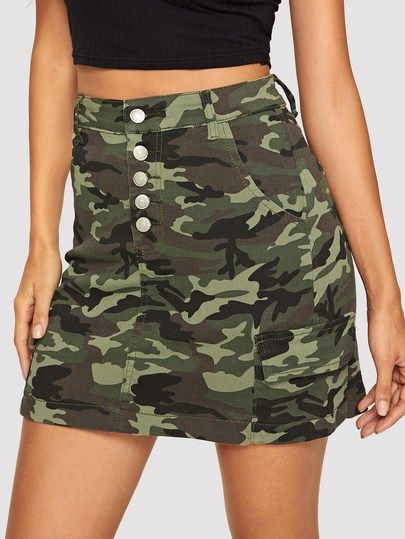cuteshopp.com Button Front Denim Camo Skirt [skirt190108901] - Color:MulticolorComposition:85% Cotton, 13% Polyester, 2% SpandexLength:MiniSilhouette:SheathStyle:CasualPattern Type:CamouflageFabric:Fabric is very stretchySeason:SummerWaist Type:Mid WaistDetails:ButtonType:A LineOccasion:Weekend CasualMaterial:Denim