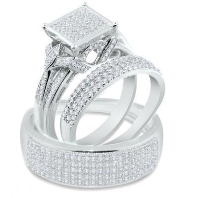 14k White Gold Over 2 48ct Round Diamond Trio Ring Set Engagement Wedding Band Wedding Ring Trio Sets Morganite Engagement Ring Oval Engagement Rings Couple
