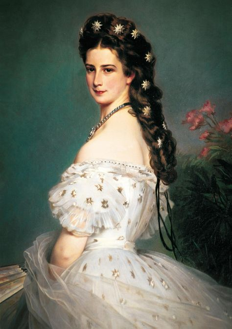 Empress Elisabeth of Austria was a tragic beauty queen Franz Winterhalter's iconic 1865 portrait of Elisabeth (Sisi) depicts her at age 27, with a coquettish smile and bejeweled hair.