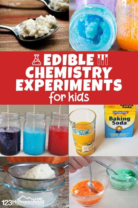 Kids will have fun exploring chemistry with these edible science experiments. This is such a great way to make science come alive with edible science projects. Chemistry Experiments For Kids, Science Experiments Kids, Science Activities, Science Fun, Preschool Science, Science Education, Summer Science, Science Classroom, Candy Experiments