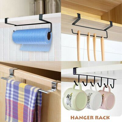 Kitchen Under Cabinet Towel Cup Paper Hanger Rack Organizer Storage Shelf Holder Ebay In 2020 Hanger Rack Under Cabinet Storage Shelf Holders