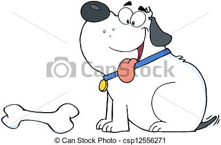Osso Per Cani Disegno.Bianco Osso Cane Grasso Felice Vettore Archivi Di