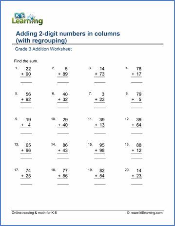 Regrouping Math Worksheets Addition Worksheets 1st Grade Worksheets Addition With Regrouping Worksheets Free math worksheets column addition