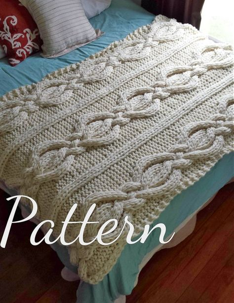 ***This listing is for the PATTERN ONLY – NOT THE FINISHED PRODUCT*** If you would like the finished product it is available here: https://www.etsy.com/listing/189507343/twisted-cable-knit-blanket-100-wool? This chunky blanket would make the perfect addition to any room of the house!