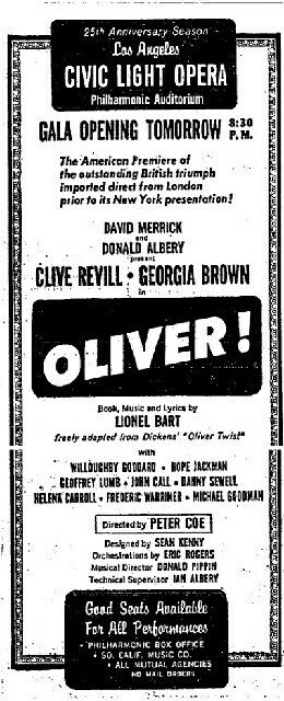 Promotional Ad For The 1962 Premiere Los Angeles Tryout Production Of The Lionel Bart Musical Oliver At The Philharmonic Auditorium Los Angeles Clive Revill