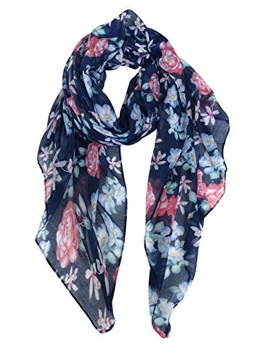 Pink Floral Scarf Ladies Blue Flower Print Wrap Light Weight Shawl Flowers