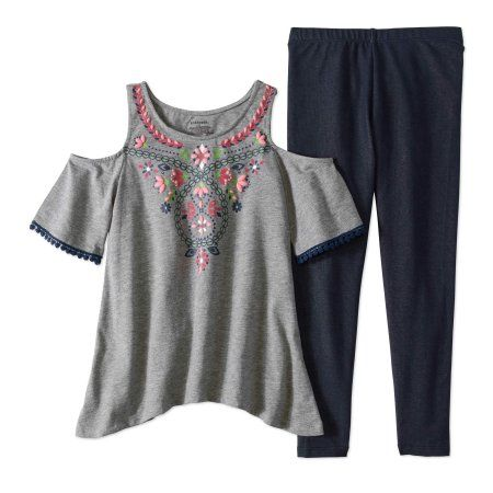 555ec5a88a0fd Kidtopia Little Girls  4-6X Cold Shoulder Sharkbite Hem Tunic and Legging 2- Piece Outfit Set