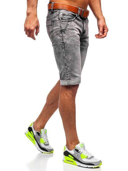 Czarne Jeansowe Krotkie Spodenki Meskie Z Paskiem Denley Kr1211 Mens Denim Short Mens Denim Polished Man