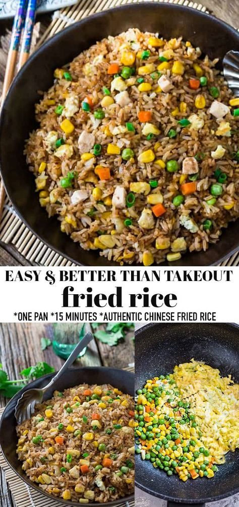 Absolutely the Best Fried Rice with authentic flavors perfect to curb that Chinese Restaurant takeout craving. Super easy recipe to make at home in 15 minutes on the stove. Plus just a few secret ingredients tips to make it better than the local takeout restaurant. Make it on Sunday for weekly meal prep for or leftovers are great for school lunchboxes or work lunch bowls. Includes grain-free, low carb, paleo, vegan  keto options. #friedrice #mealprep #pantrystaples #rice #chinesefood #vegan