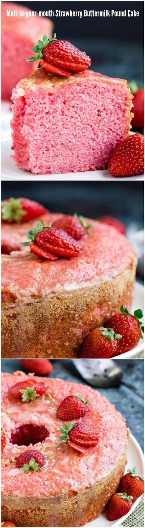 Melt In Your Mouth Strawberry Buttermilk Pound Cake Is Simply Amazing The Intense Strawberry Flavor A Buttermilk Pound Cake Dessert Recipes Strawberry Recipes