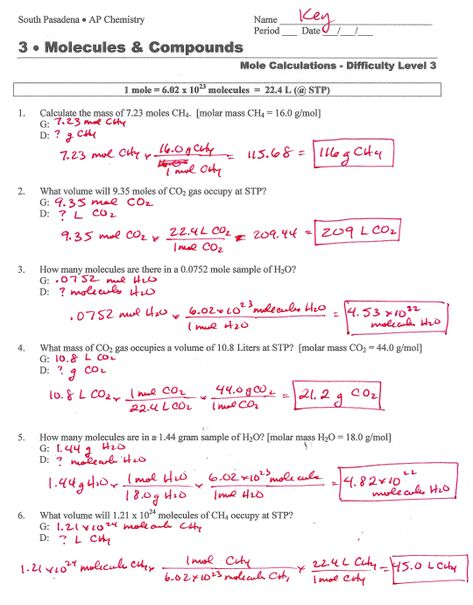 Mole Worksheets With Answers | Mole conversion worksheet ...