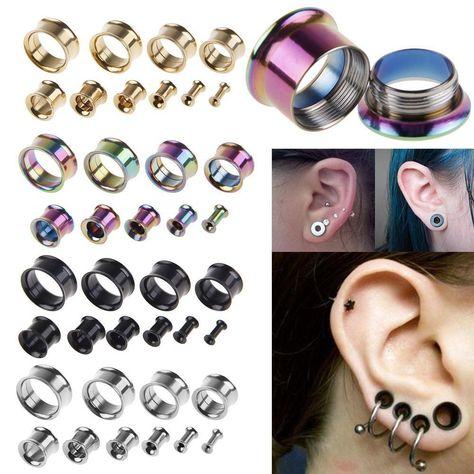 $1.0 AUD - 2 X Steel Double Flare Hollow Tunnels Ear Plug Gauges Flesh Earlet Stretcher #ebay #Fashion