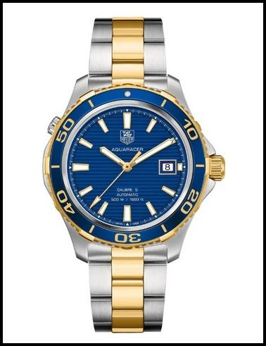 Tag Heuer Aquaracer Blue Dial Yellow Gold Plated and Stainless Steel Men's Watch WAK2120.BB0835