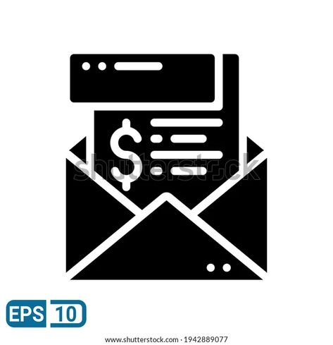 Envelope Money Icon Solid Style Isolated Stock Vector (Royalty Free) 1942889077
