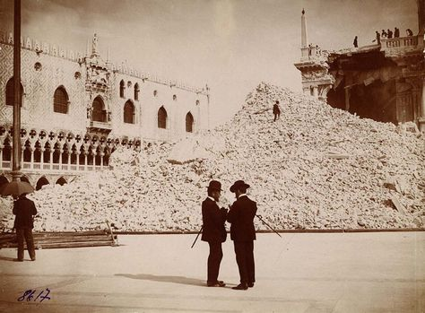 (Real) picture of the heap of rubble that remained after the collapse of Campanile di San Marco on July 14 1902.