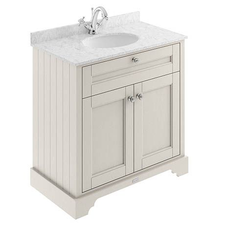 Old London 800mm Cabinet Single Bowl Grey Marble Top Timeless Sand Vanity Units Freestanding Vanity Unit Bathroom Furniture