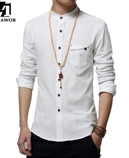 Mens Slim Fit Linen Cotton Stand Collar Casual Shirt Buttons Long Sleeve Outwear