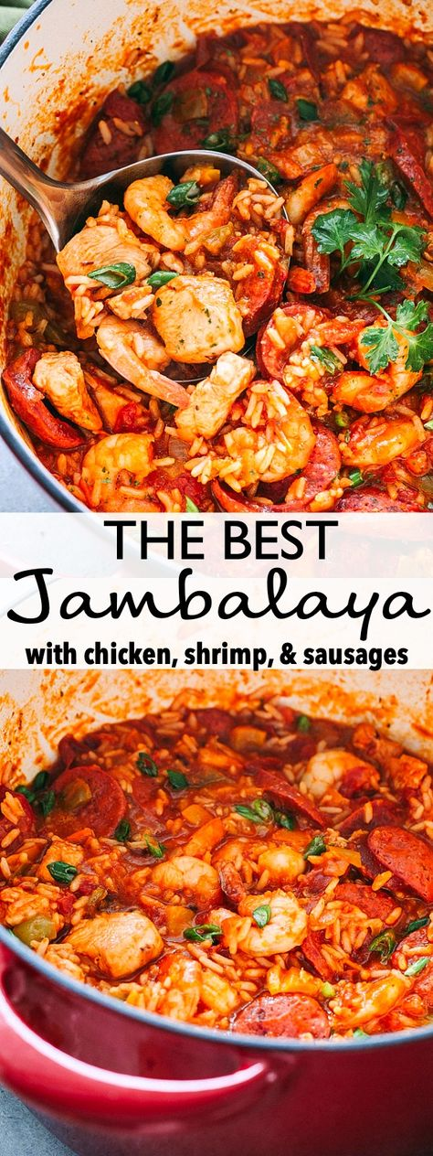 THE BEST JAMBALAYA RECIPE! Easy tasty one pot recipe for Jambalaya prepared with rice chicken shrimp and sausages. Whip up this Southern favorite in just 30 minutes and get ready for a Mardi Gras dinner that the whole family will love! Seafood Recipes, Donut Recipes, Easy Cajun Recipes, One Pot Recipes, Healthy Southern Recipes, Salmon Recipes, Crockpot Recipes, Recipies, Recipes