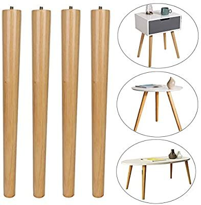 Meetwarm 16 Inch Table Legs Wood Furniture Legs Tapered Round For Coffee End Tables Side Table Chai Wood Furniture Legs Modern Side Table Diy Modern Table Legs