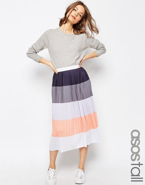 b7627391846139 TALL Pleated Midi Skirt in Colour Block | Wishlist | Asos skirts ...