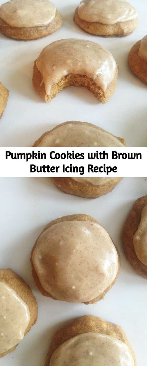 A soft and tender cake-like pumpkin cookie with pumpkin pie spices, slathered with an amazing brown butter frosting! These Pumpkin Cookies with Brown Butter Icing is the pumpkin recipe that started the whole pumpkin obsession for me, and they do not disappoint!