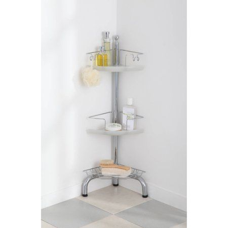 Homezone 3 Tier Adjustable Corner Shower Caddy Chrome Walmart Com Corner Shower Caddy Corner Shower Shower Caddy